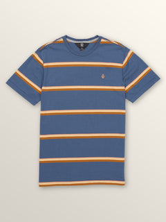Big Boys Sheldon Crew Tee In Deep Blue, Front View