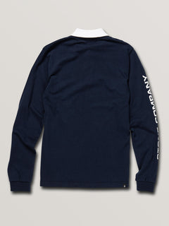 Big Boys Belmont Long Sleeve Polo In Navy, Back View