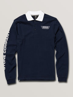 Big Boys Belmont Long Sleeve Polo In Navy, Front View