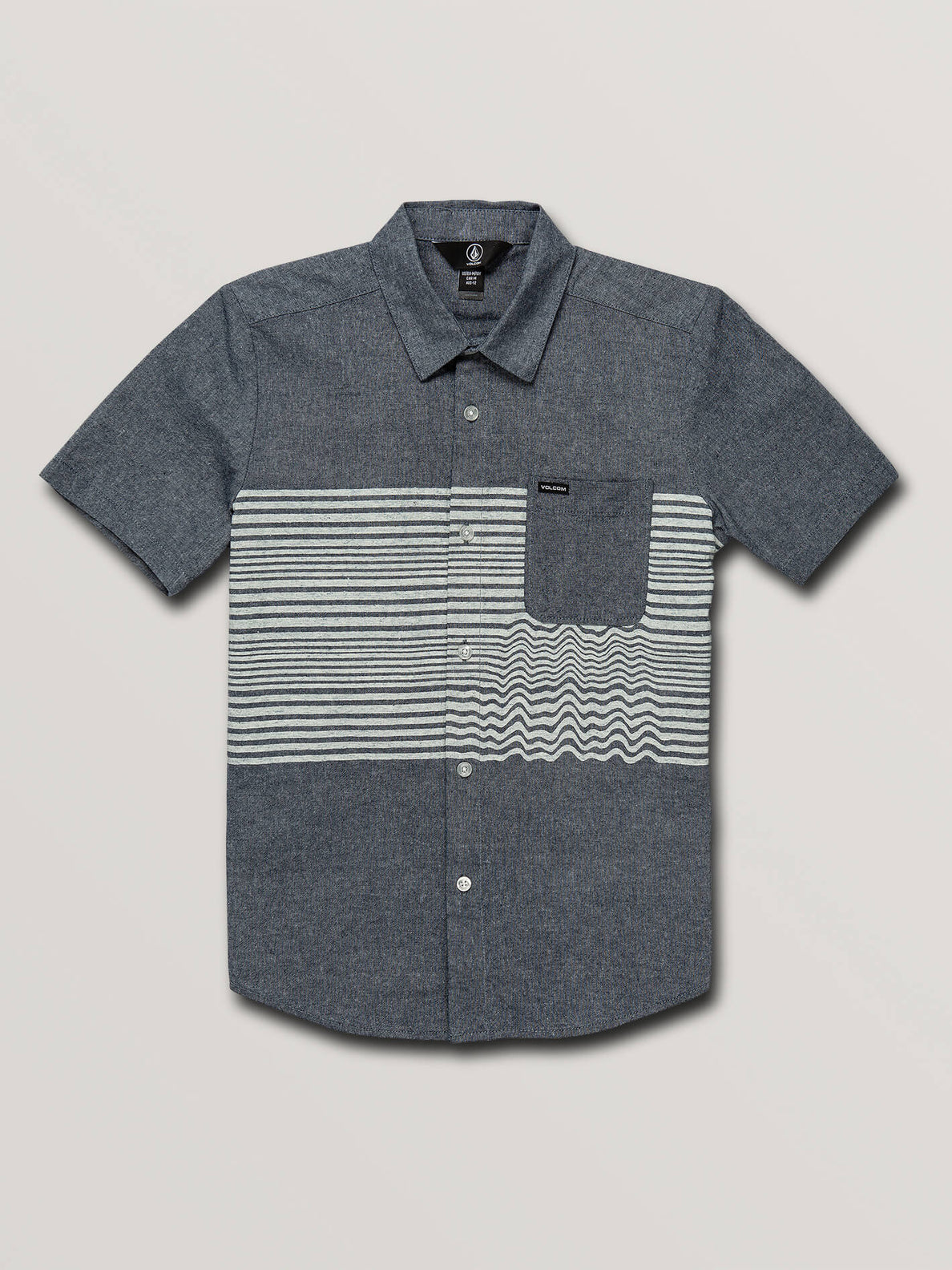 Big Boys Mag Vibes Short Sleeve Shirt In Indigo, Front View