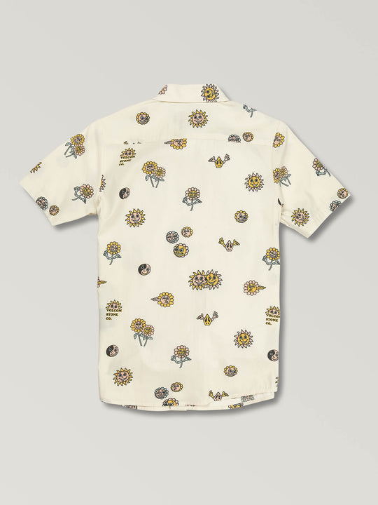 Big Boys Peace Stones Short Sleeve Shirt In White Flash, Back View