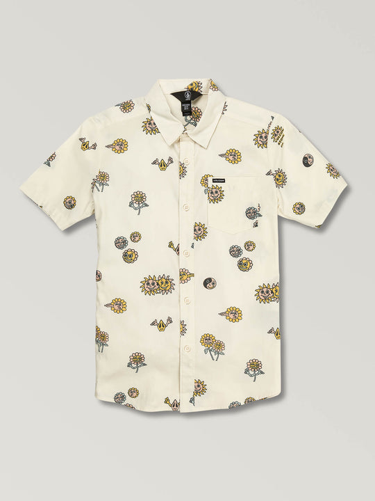 Big Boys Peace Stones Short Sleeve Shirt In White Flash, Front View