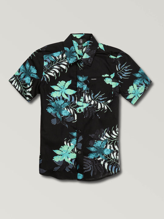 Big Boys Wave Fayer Short Sleeve Shirt In Black, Front View