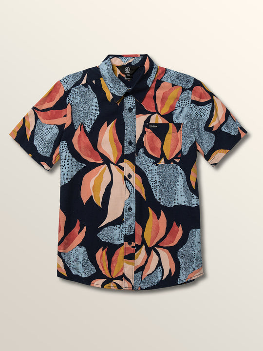 Big Boys Garden Floral Short Sleeve Shirt In Melindigo, Front View