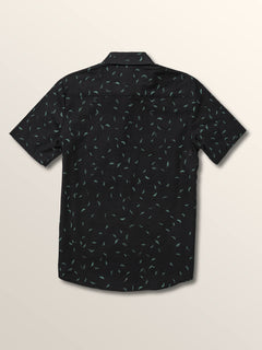 Big Boys Quency Dot Short Sleeve Shirt In Asphalt Black, Back View