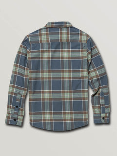 Big Boys Caden Plaid Long Sleeve Flannel In Indigo, Back View