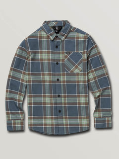 Big Boys Caden Plaid Long Sleeve Flannel In Indigo, Front View