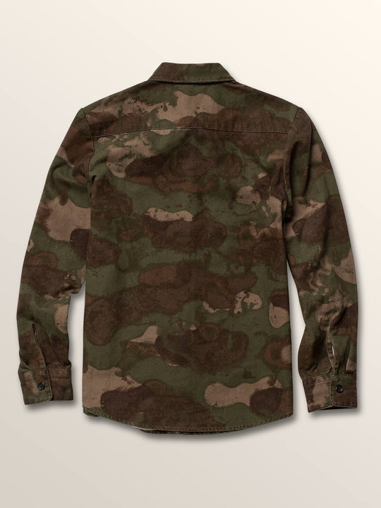 Big Boys Huckster Long Sleeve Shirt In Army, Back View