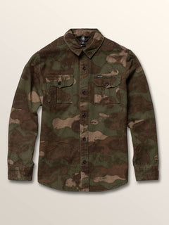 Big Boys Huckster Long Sleeve Shirt In Army, Front View