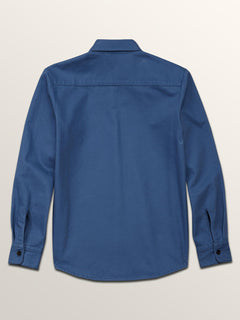 Big Boys Huckster Long Sleeve Shirt In Used Blue, Back View