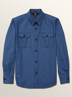 Big Boys Huckster Long Sleeve Shirt In Used Blue, Front View