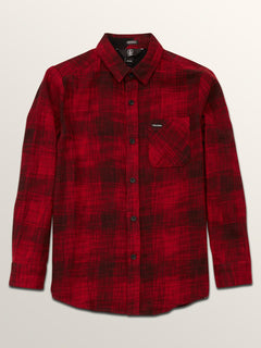 Big Boys Buffalo Glitch Long Sleeve Shirt In Engine Red, Front View