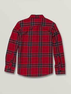 Big Boys Caden Plaid Long Sleeve - Engine Red (C0531906_ENR) [B]