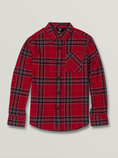 Big Boys Caden Plaid Long Sleeve - Engine Red (C0531906_ENR) [F]