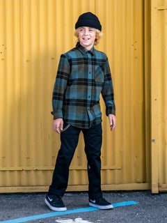 Big Boys Caden Plaid Long Sleeve Flannel - Military (C0532005_MIL) [100]