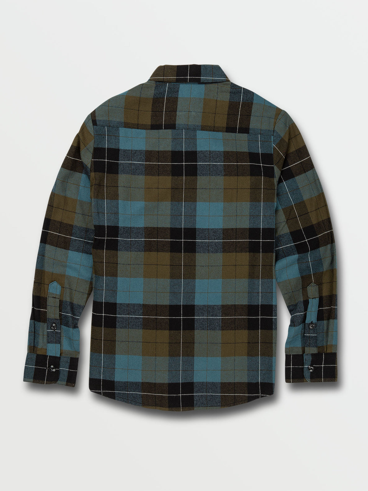 Big Boys Caden Plaid Long Sleeve Flannel - Military (C0532005_MIL) [B]