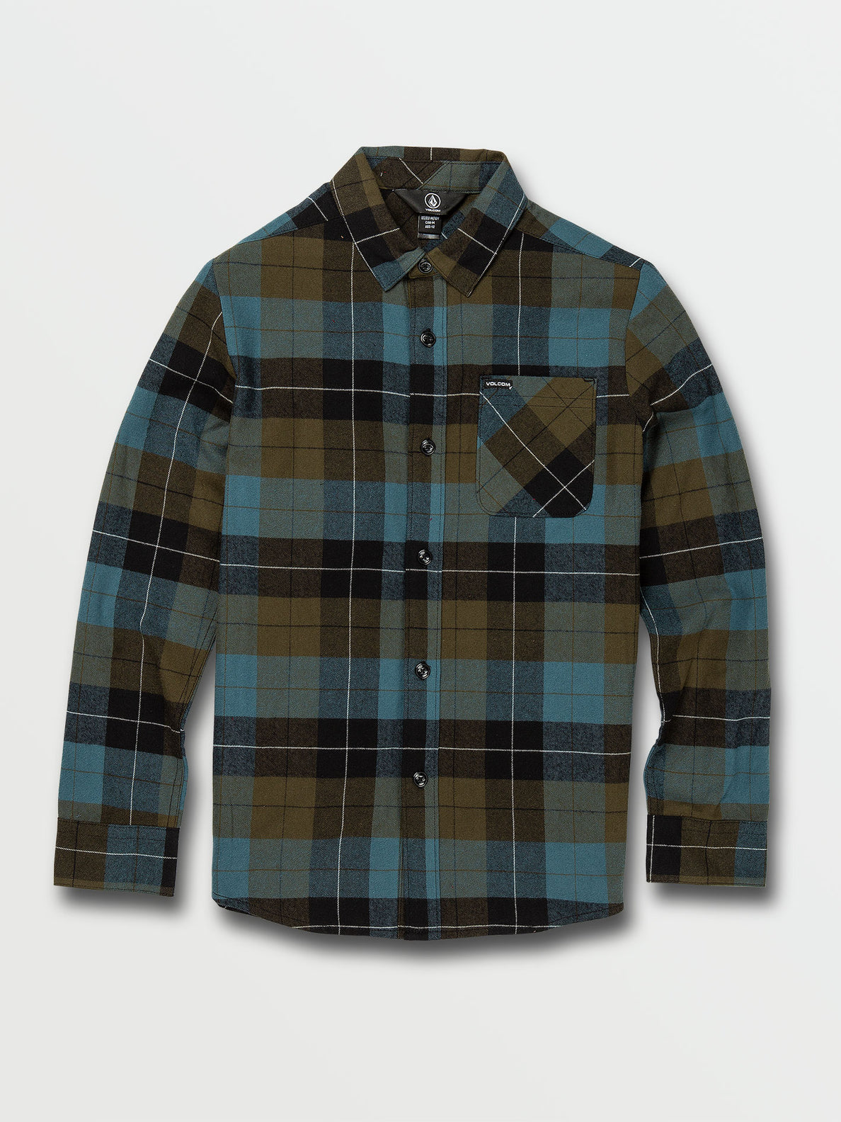 Big Boys Caden Plaid Long Sleeve Flannel - Military (C0532005_MIL) [F]