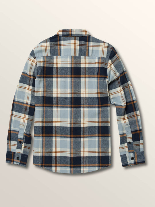 Big Boys Caden Plaid Long Sleeve Flannel In Slate Blue, Back View