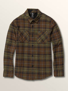 Big Boys Lumberg Long Sleeve Flannel In Vineyard Green, Front View