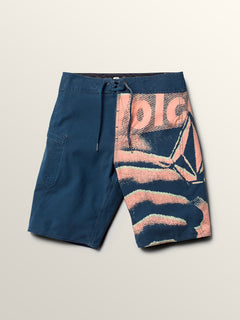 Big Boys Liberate Mod Boardshorts In Smokey Blue, Front View