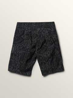 Big Boys Logo Plasm Mod Boardshorts In Asphalt Black, Back View