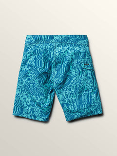 Big Boys Logo Plasm Mod Boardshorts In Bright Turquoise, Back View
