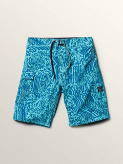 Big Boys Logo Plasm Mod Boardshorts In Bright Turquoise, Front View