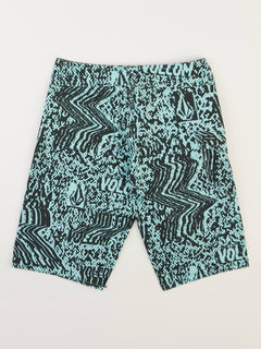 Big Boys Logo Plasm Mod Boardshorts In Pale Aqua, Back View