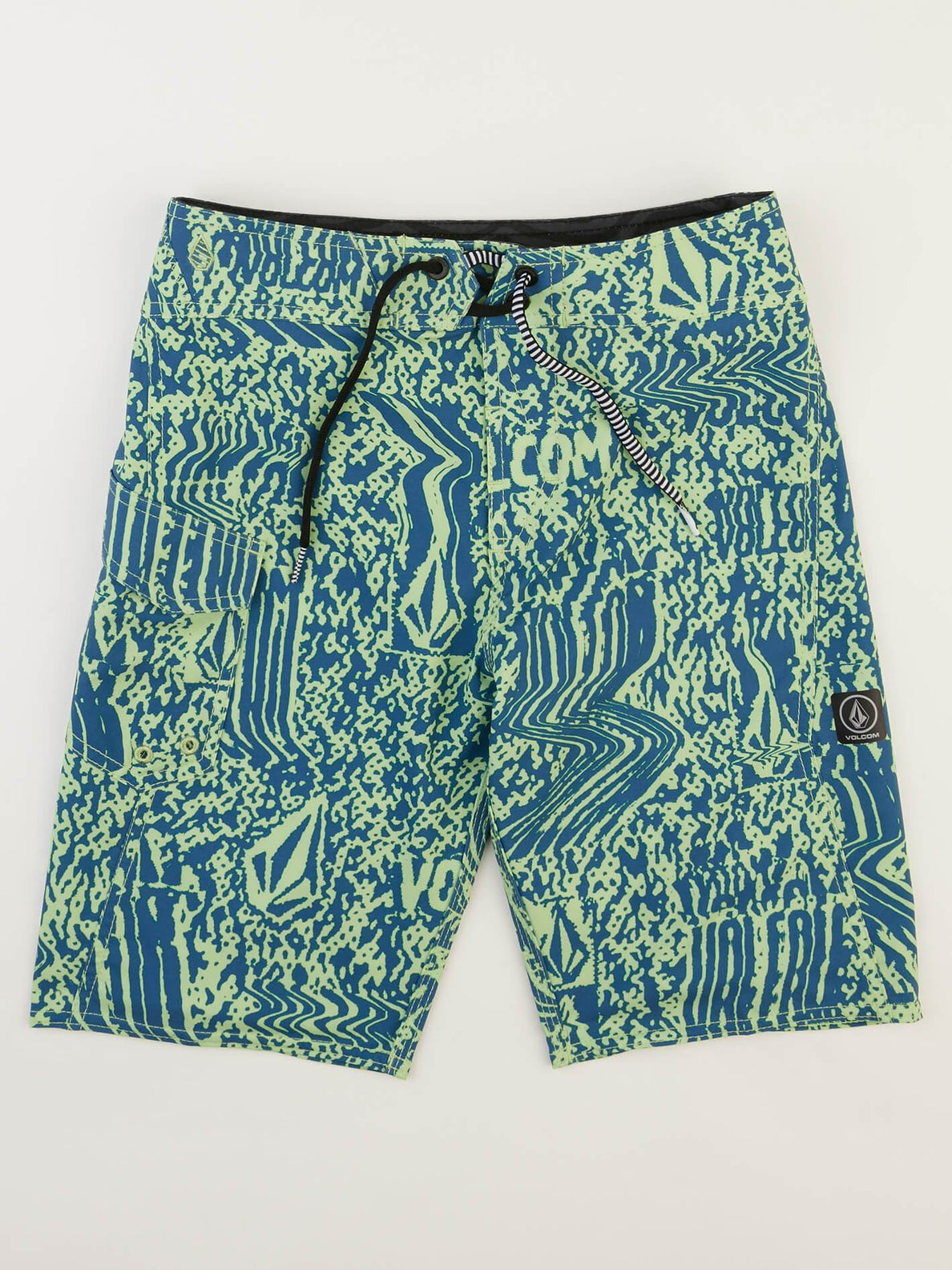 Big Boys Logo Plasm Mod Boardshorts In Strobe Green, Front View