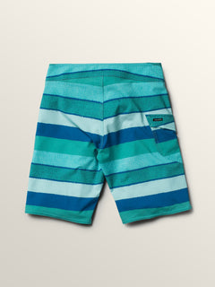 Big Boys Magnetic Liney Mod Boardshorts In Turquoise, Back View