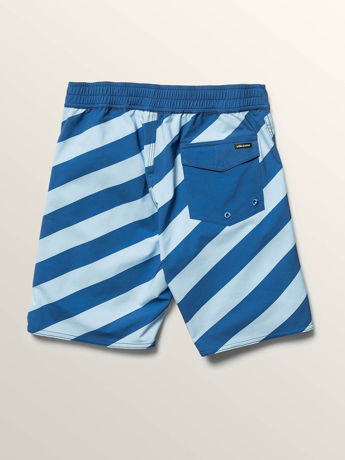 Big Boys Stripey Elastic Boardshorts In Arctic Blue, Back View
