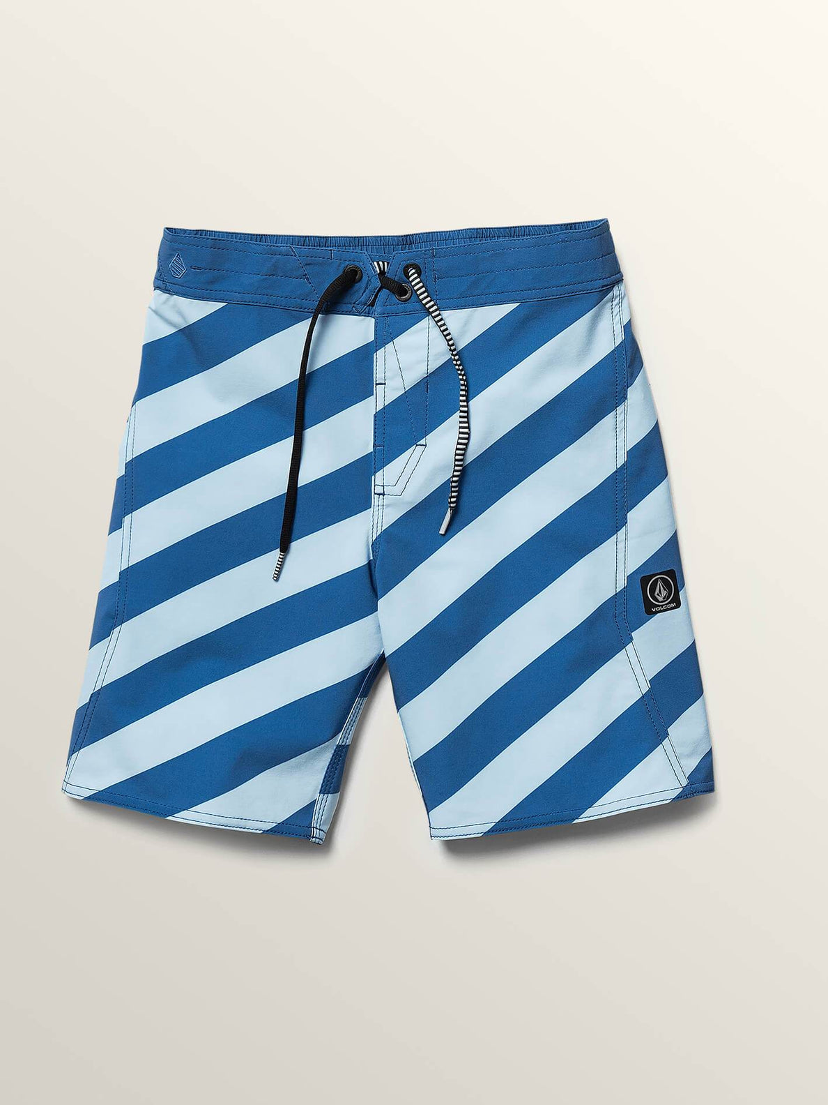 Big Boys Stripey Elastic Boardshorts In Arctic Blue, Front View
