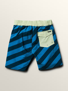 Big Boys Stripey Elastic Boardshorts In Indigo, Back View