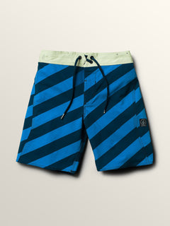 Big Boys Stripey Elastic Boardshorts In Indigo, Front View