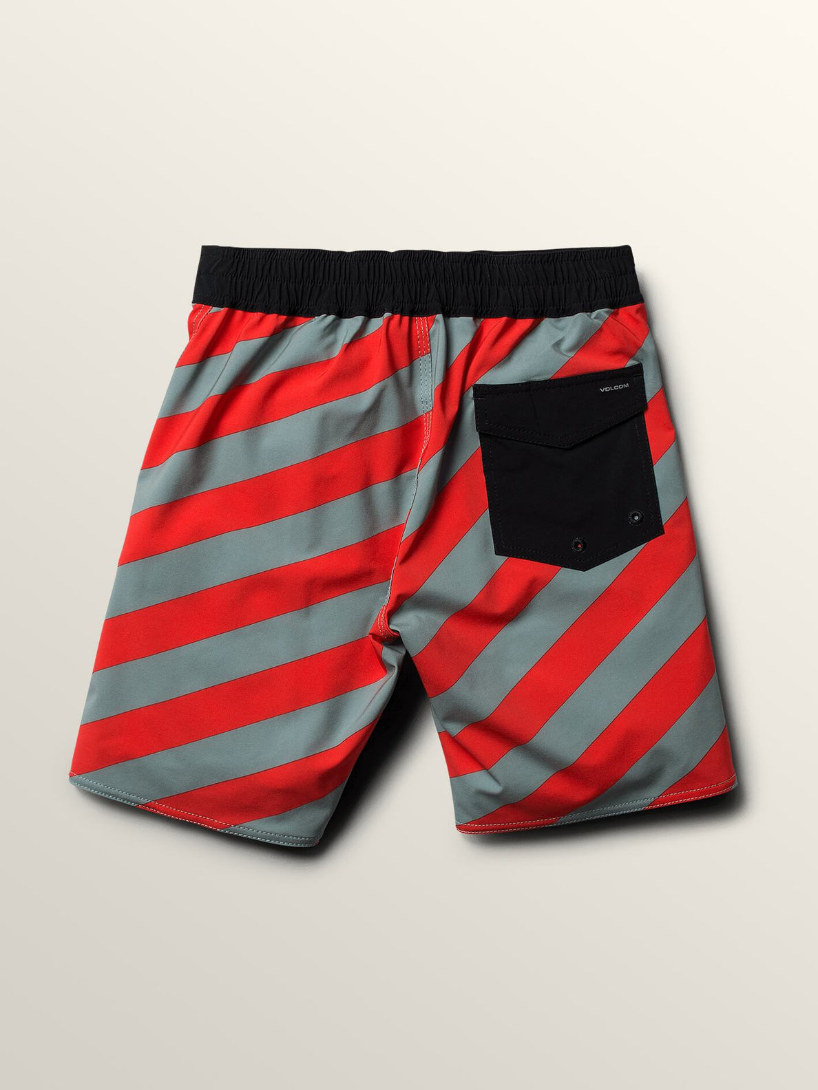 Big Boys Stripey Elastic Boardshorts In Lead, Back View