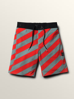 Big Boys Stripey Elastic Boardshorts In Lead, Front View