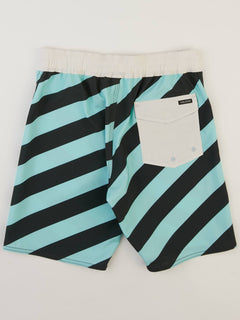 Big Boys Stripey Elastic Boardshorts In Pale Aqua, Back View