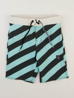 Big Boys Stripey Elastic Boardshorts In Pale Aqua, Front View