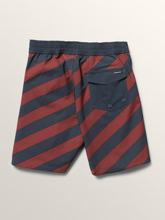 Big Boys Stripey Elastic Boardshorts In Rust, Back View