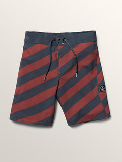 Big Boys Stripey Elastic Boardshorts In Rust, Front View