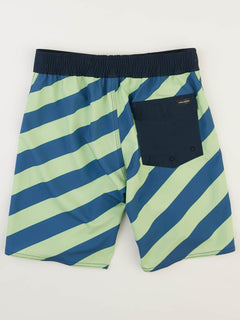 Big Boys Stripey Elastic Boardshorts In Strobe Green, Back View