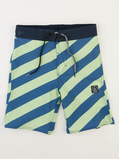 Big Boys Stripey Elastic Boardshorts In Strobe Green, Front View