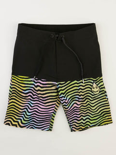 Big Boys Vibes Elastic Boardshorts In Multi, Front View