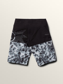 Big Boys Lido Block Mod Boardshorts In Black Combo, Back View