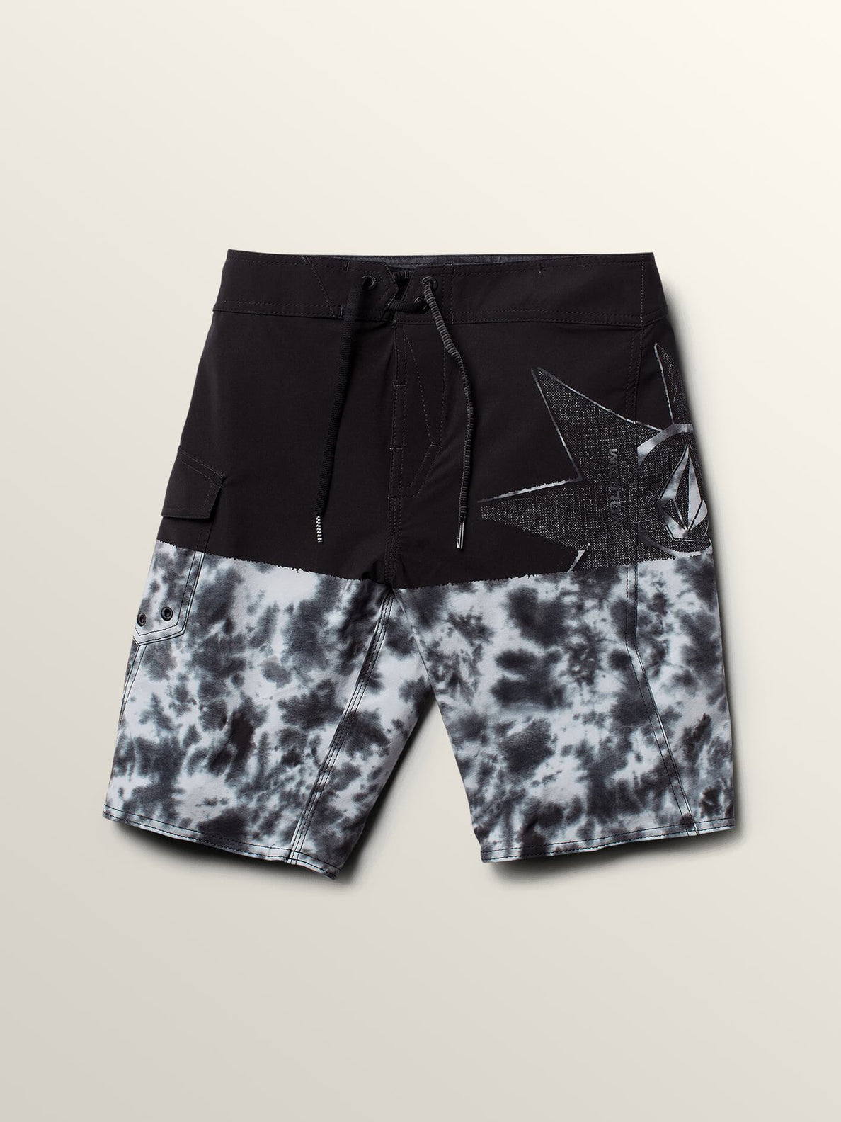Big Boys Lido Block Mod Boardshorts In Black Combo, Front View