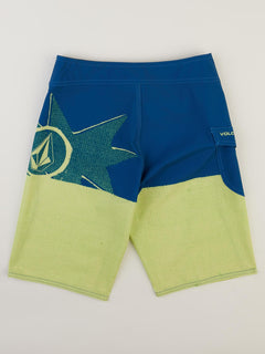 Big Boys Lido Block Mod Boardshorts In Shadow Lime, Back View