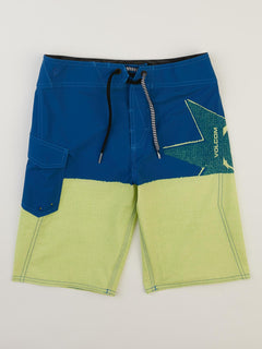 Big Boys Lido Block Mod Boardshorts In Shadow Lime, Front View