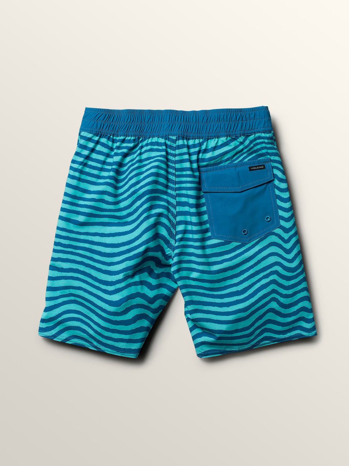 Big Boys Mag Vibes Elastic Boardshorts In Bright Turquoise, Back View