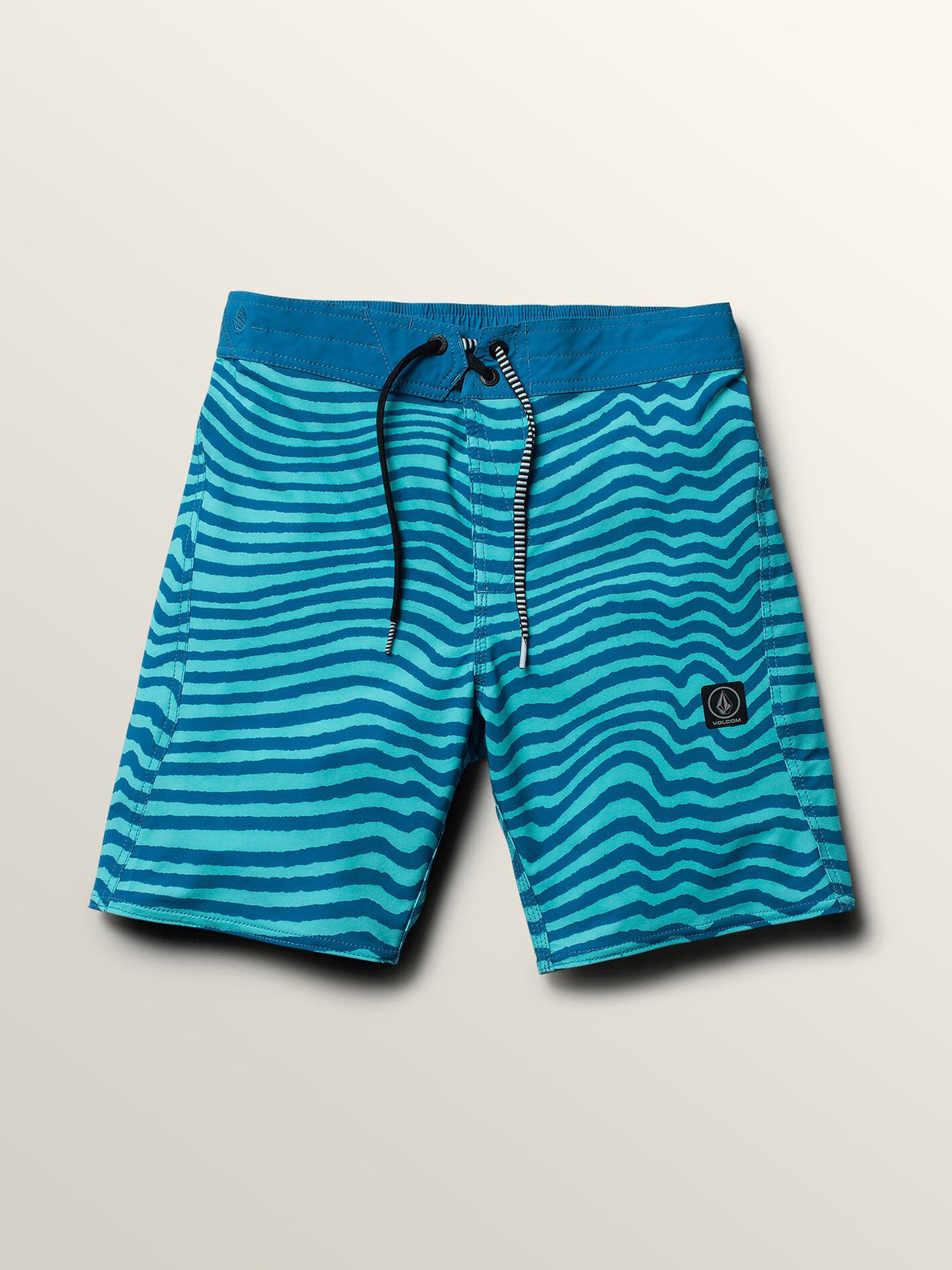 Big Boys Mag Vibes Elastic Boardshorts In Bright Turquoise, Front View
