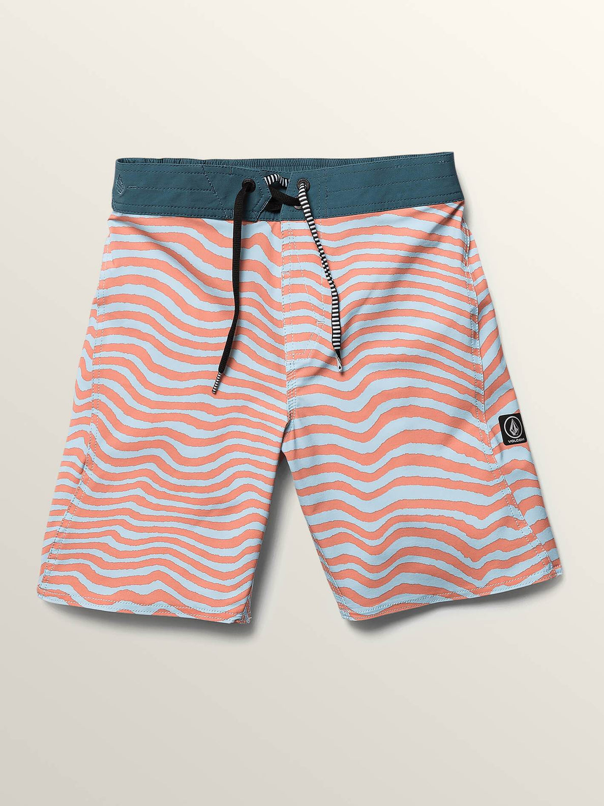 Big Boys Mag Vibes Elastic Boardshorts In Turbo Orange, Front View